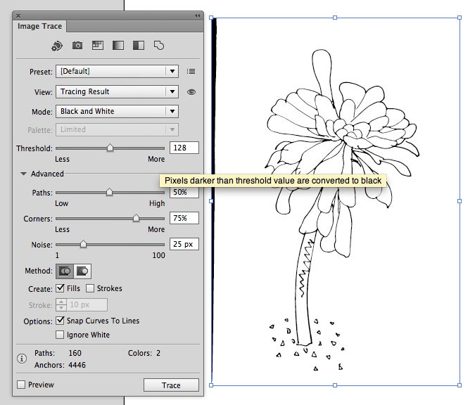 Go Radiate How To Use The Live Trace Tool In Illustrator CS6 To Digitise Your Line Drawing - Go ...